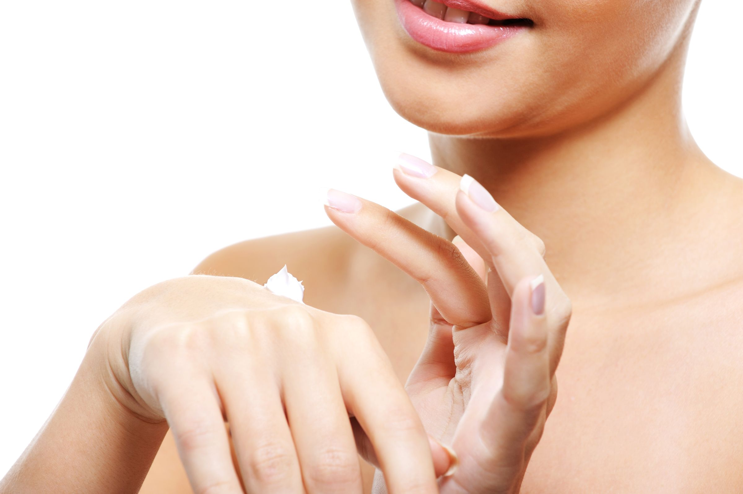 Young Female Person Caring Her Hands Applying Cosmetic Cream