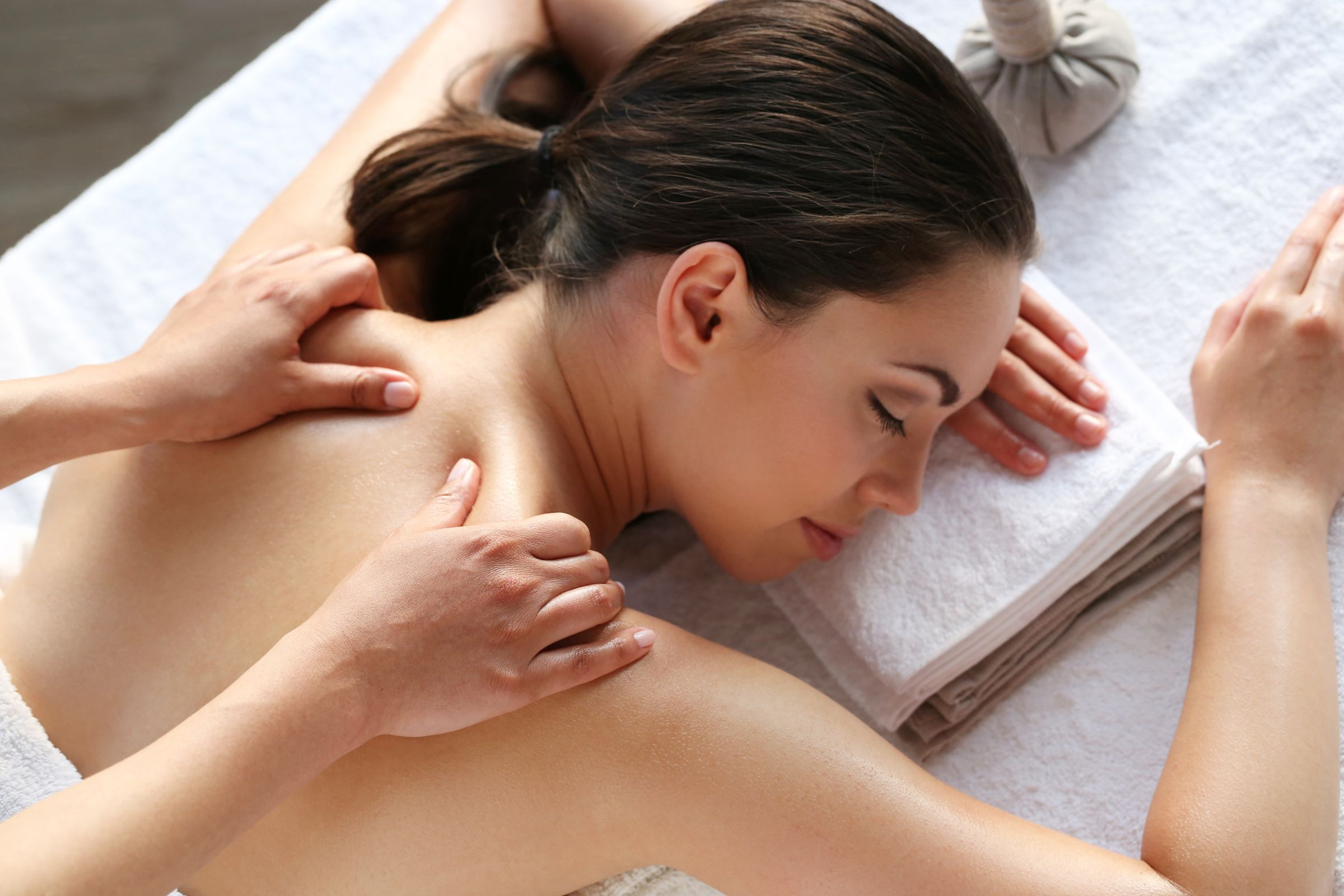Female Model Having Massage Spa